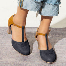Load image into Gallery viewer, T-Strap Heel Sandals Buckle Strap Chunky Heel Sandals