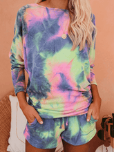 Load image into Gallery viewer, Tie Dye Dolman Knit Top with Pocketed Shorts