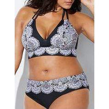 Load image into Gallery viewer, Tropical Print Halter Sexy Plus Size Bikinis Swimsuits