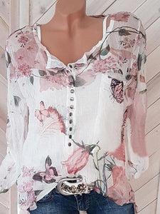 V-neck button long sleeve printed chiffon top