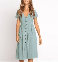 Load image into Gallery viewer, V-neck Casual Short Sleeved Dress
