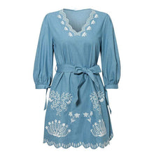 Load image into Gallery viewer, V-neck embroidered denim dress