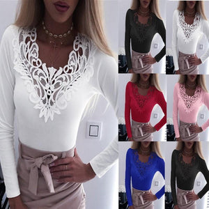 V-Neck Lace Stitching Stretch Long Sleeved Slim T-Shirt