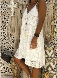V-Neck Lanyard Lace Loose Dress