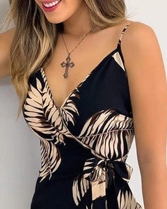 V Neck Leaf Print Mini Dress