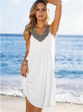 Load image into Gallery viewer, Vacation Beach V-neck Shift Dress