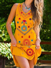 Load image into Gallery viewer, Vintage Sleeveless Boho Floral Geometric Plus Size Casual Dresses