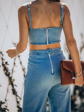 Load image into Gallery viewer, VITAMIN SEA POCKETED DENIM CUTOUT JUMPSUIT