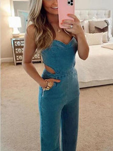 VITAMIN SEA POCKETED DENIM CUTOUT JUMPSUIT