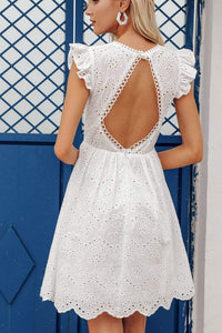 Water-soluble embroidery lace backless dress