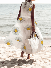 Load image into Gallery viewer, White Casual Floral V Neck A-Line Dresses