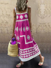 Load image into Gallery viewer, Women Boho Holiday Graphic Linen Maxi Dresses