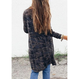 Women's Camouflage Print Long Sleeve Knit Jacket  |ZDT