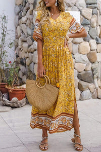 Women's long dress with V-neck print