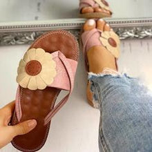 Load image into Gallery viewer, Women's PU Flat Heel Sandals Slippers With Flower shoes