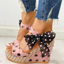 Load image into Gallery viewer, Women's PU Wedge Heel Sandals With Bowknot shoes