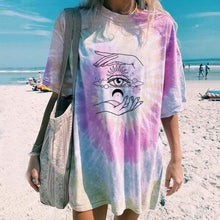 Load image into Gallery viewer, Women Tie-dye printed short sleeve casual long T-shirt