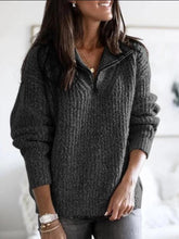 Load image into Gallery viewer, Zipper Pullover Long Sleeve Knit Tops  | iluver