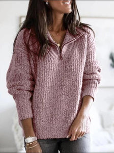 Zipper Pullover Long Sleeve Knit Tops  | iluver
