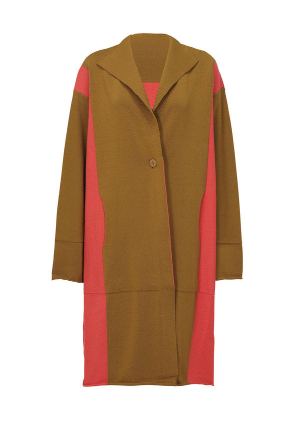 POCKET KNIT Coat Coral Orange x Ochre