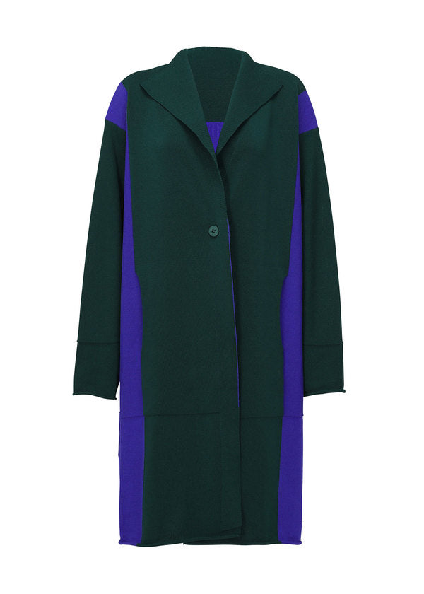 POCKET KNIT Coat Blue x Green