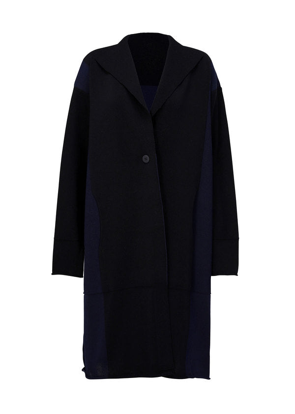 POCKET KNIT Coat Navy x Black