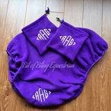 Purple Monogrammed English Saddle Cover