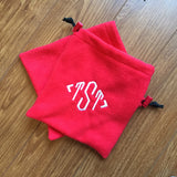 Red Monogrammed English Stirrup Covers