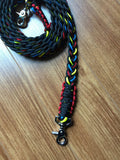 Primary Colours Paracord Reins - Red, Yellow and Blue with Black