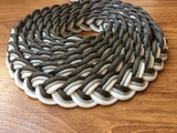 Fifty Shades Paracord Reins - Adjustable Charcoal Grey, Silver and White