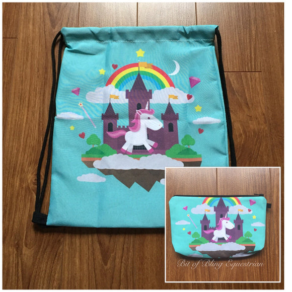 Unicorn Drawstring Backpack and Makeup Bag