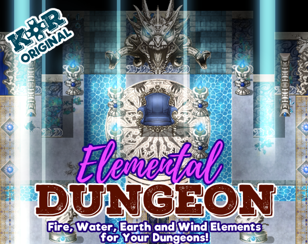 KR Elemental Dungeon Tileset - Fire, Water, Earth, Wind