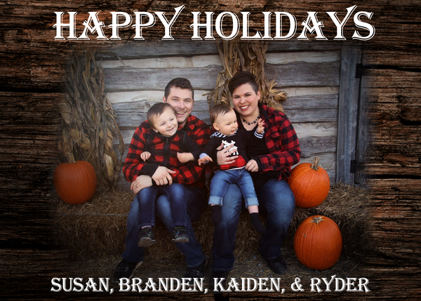 Sciggles - Black Friday - Happy Holidays - Susan, Branden, Kaiden, & Ryder - SciggleNVY Family Picture - Babies on Parents Laps on Bales of Hay, with pumpkins and dried corn stalks