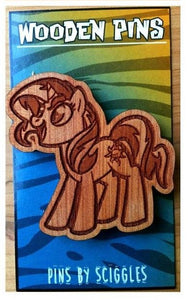 Wooden Pins - Pony, Pins, Cedar, Customizeable, Laser Engraved, Pins, Pony, Wearable - Sciggles