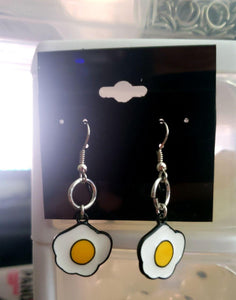 Fried Eggs Earrings, Earrings, Earrings, Enamel, Wearable - Sciggles