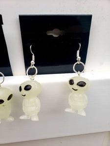 Glow-in-the-Dark Alien Earrings, Earrings, Earrings, Wearable - Sciggles