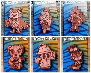 Wooden Pins - Gaming, Pins, Cedar, Customizeable, Gaming, Laser Engraved, Pins, Wearable - Sciggles