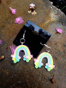 Rainbow Earrings, Earrings, Earrings, Resin, Wearable - Sciggles