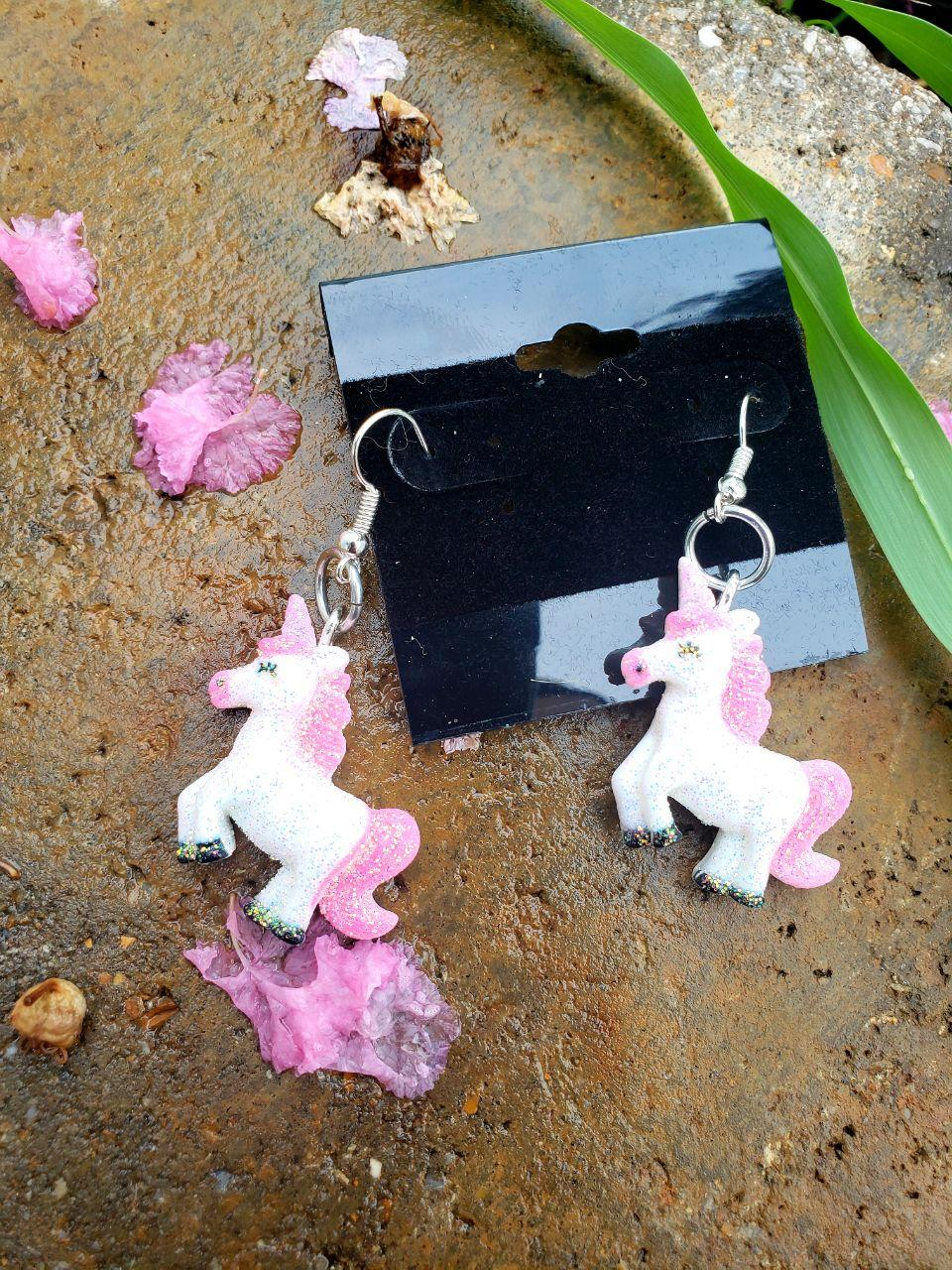 Unicorn Earrings, Earrings, Earrings, Resin, Wearable - Sciggles