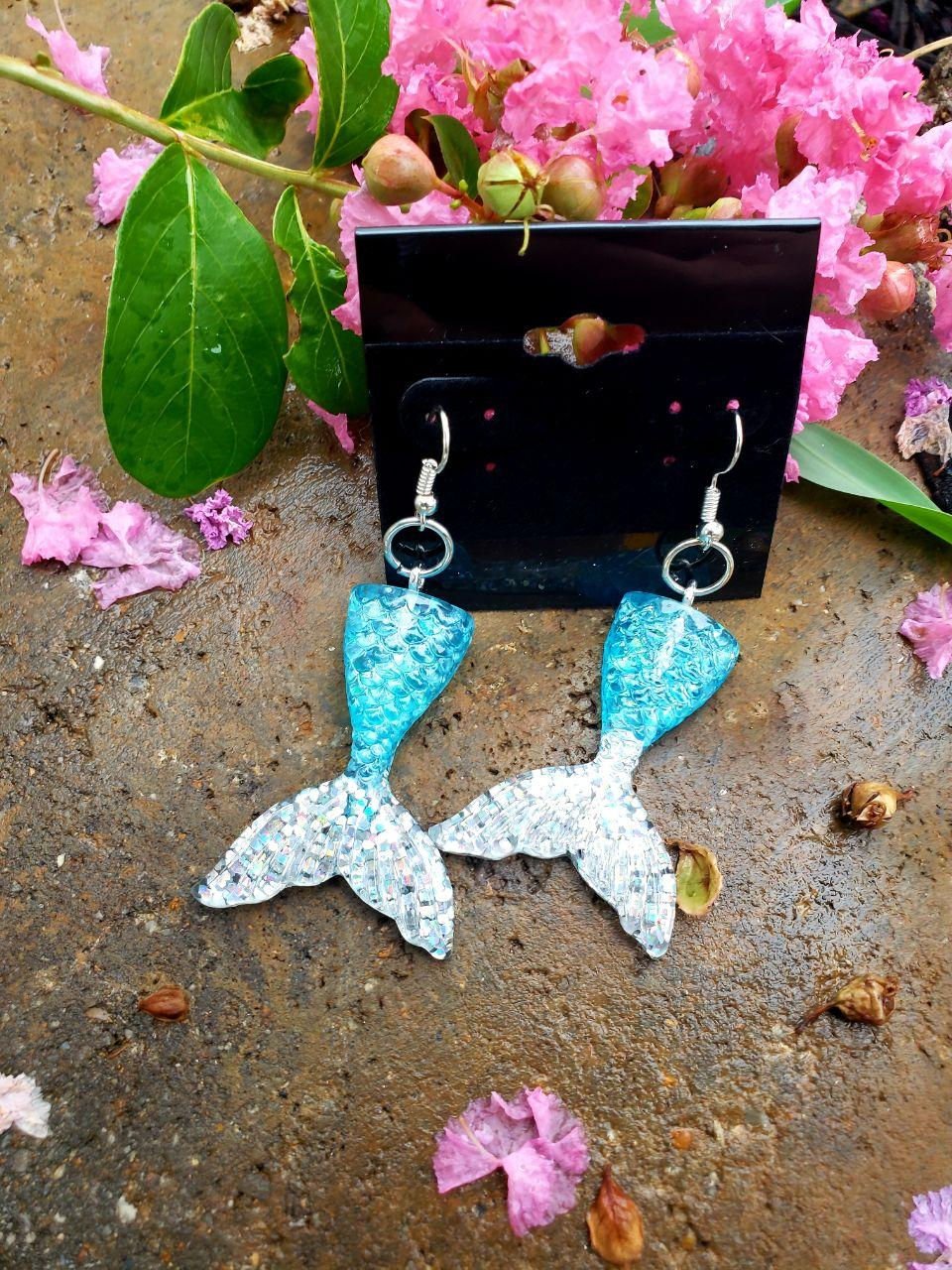 Mermaid Tail Earrings, Earrings, Earrings, Resin, Wearable - Sciggles