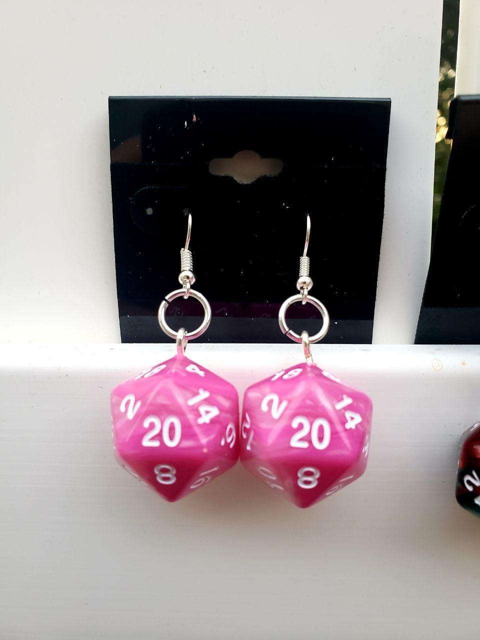 D20 Dice Earrings, Earrings, Acrylic, Earrings, Wearable - Sciggles
