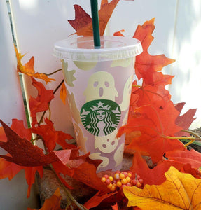 Ghost Cold Cup, Cups, Cups, Customizeable, Halloween/Fall, Limited Edition, Starbucks - Sciggles