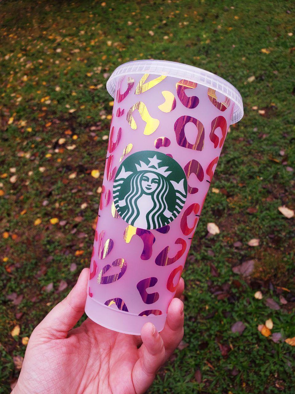 Leopard Print Cold Cup, Cups, Cups, Customizeable, Starbucks - Sciggles