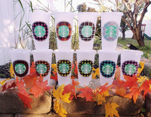 Simple Plaid Custom Cold Cup, Cups, Cups, Customizeable, Halloween/Fall, Starbucks - Sciggles