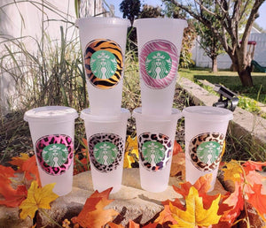 Simple Animal Print Custom Cold Cup, Cups, Cups, Customizeable, Starbucks - Sciggles