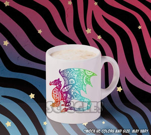 Mandala Dragon Coffee Mug, Mugs - Sciggles