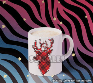 Plaid Reindeer Coffee Mugs, Mugs - Sciggles
