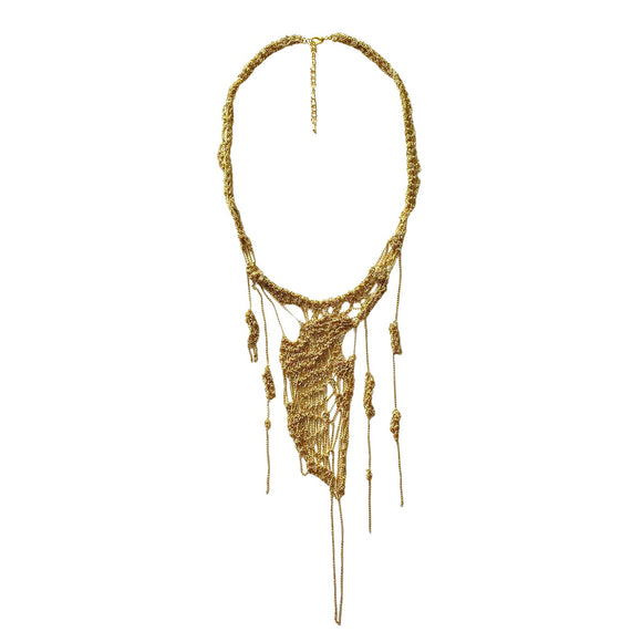Khorei Gold Knottie Mesh Necklace