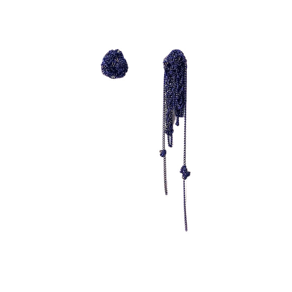 Lania Deep Blue Knottie Asymmetrical Mesh Earrings