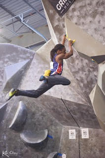 Canadian competitive climber Guy McNamee during a bouldering competition.